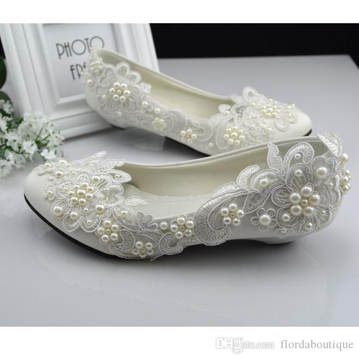 Elegant Simple Style 2018 New Bridal Shoes Pearls Lace Accents Flat ...