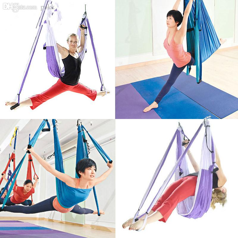 wholesale dhl deluxe flying yoga hammock swing sling trapeze aerial yoga or gym inversion tool tool picture swing stand swing hook online with  114 76 set     wholesale dhl deluxe flying yoga hammock swing sling trapeze      rh   dhgate