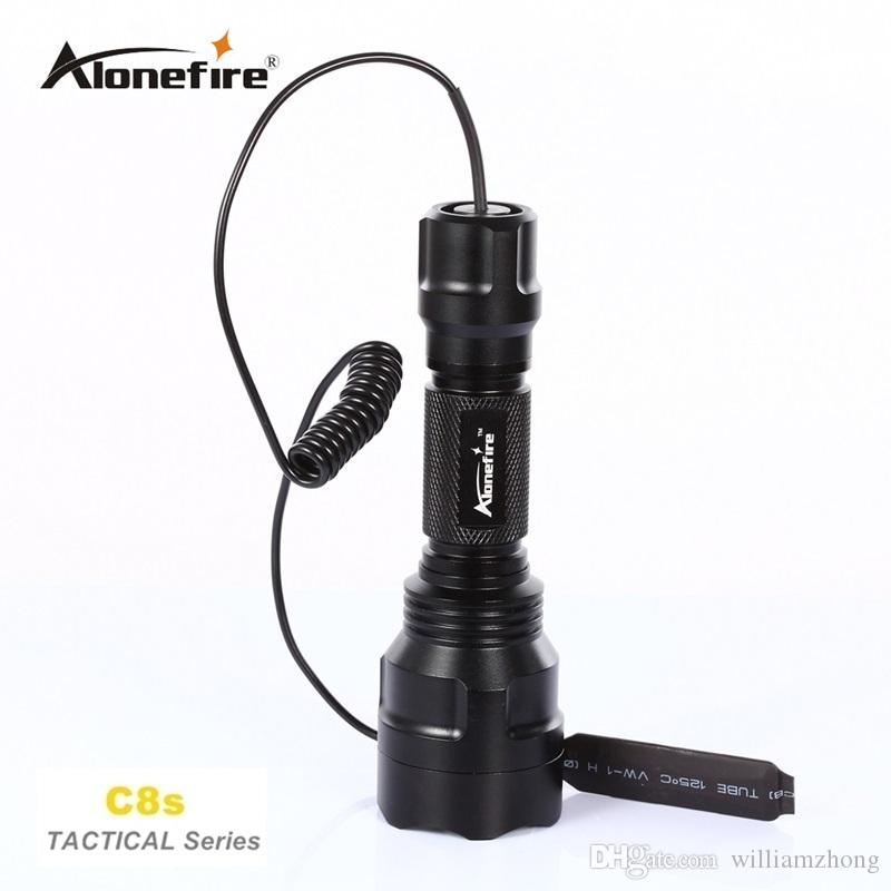 Alonefire C8 Tactical Gun Flashlight Torch 2200LM CREE XM-L2 LED 5 Modes LED Flash Light Lanterna+gun scope bases Mount+remote switch