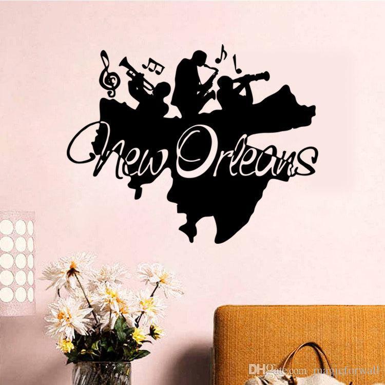 뉴 올리언스 재즈 벽 아트 벽화 장식 스티커 재즈 밴드 벽 Applique 포스터 홈 데코 Art Decoration Wall Tattoo