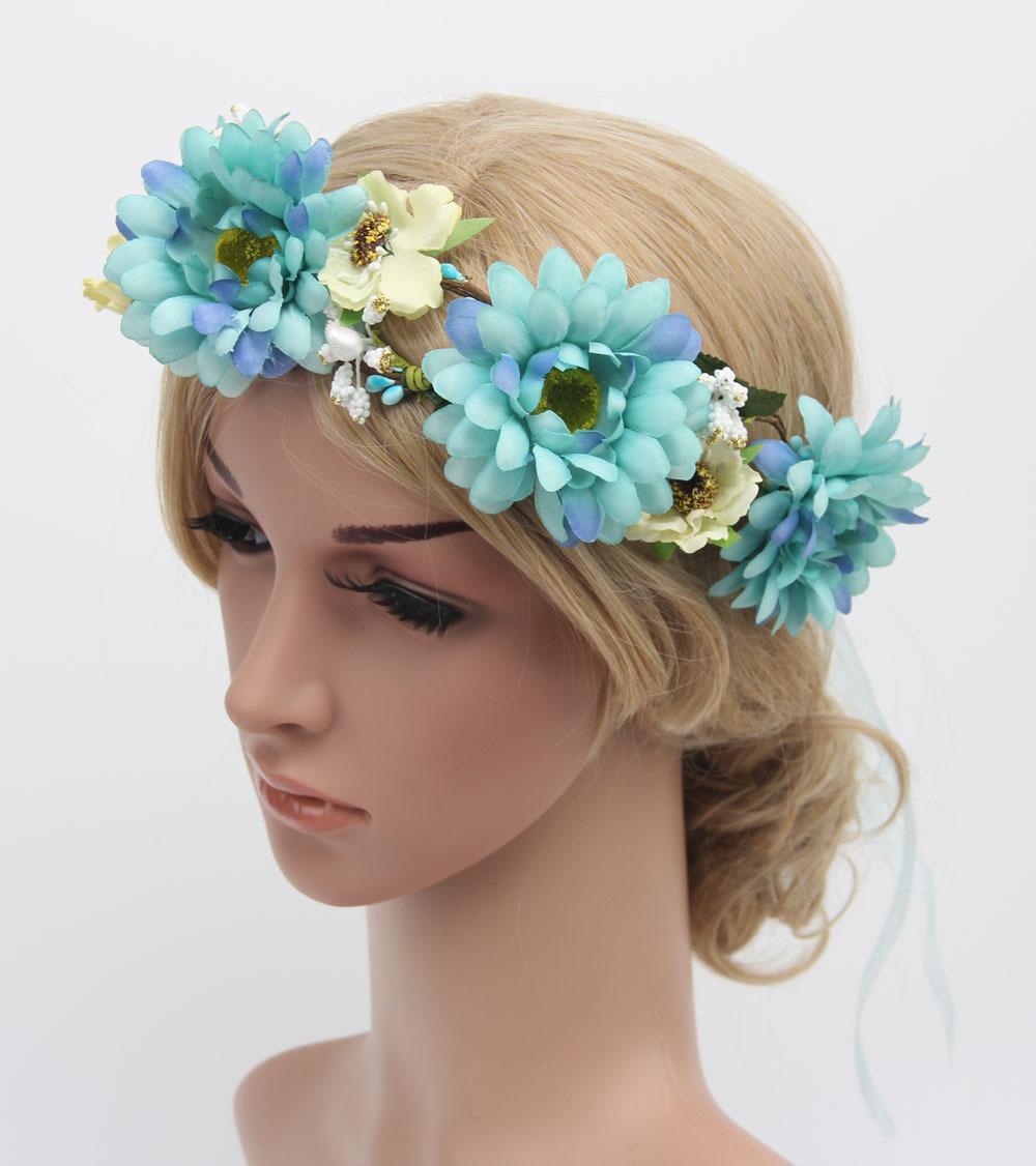 Handmade Flower Crown Festival Headband Wedding Boho Floral Garland Hair Band Accessory