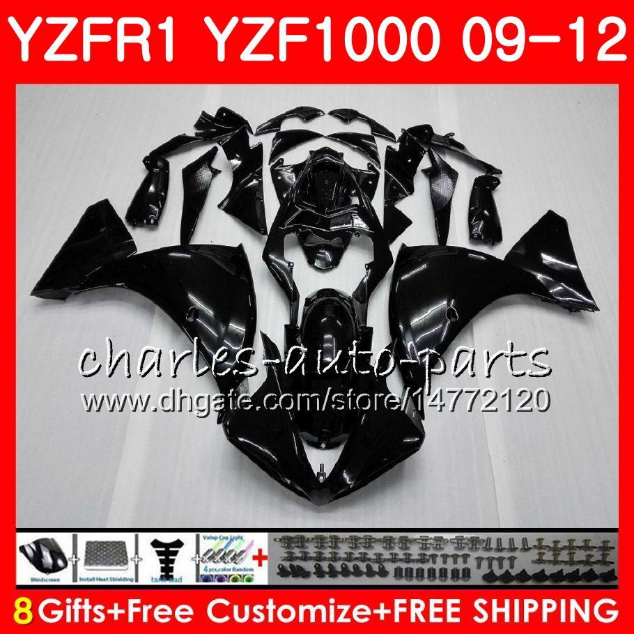Carrocería para YAMAHA YZF 1000 R 1 YZF-1000 YZF-R1 09 12 Cuerpo 85HM1 YZF1000 YZFR1 09 10 11 12 YZF R1 2009 2010 2011 2012 Carenado Negro brillante