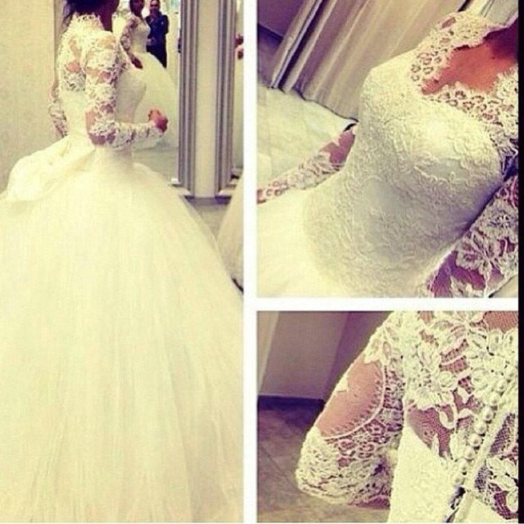 Modest vestido de baile vestidos de casamento 2019 manga comprida com decote em V Lace Tulle vestido de baile até o chão vestidos de noiva Custom Made W982