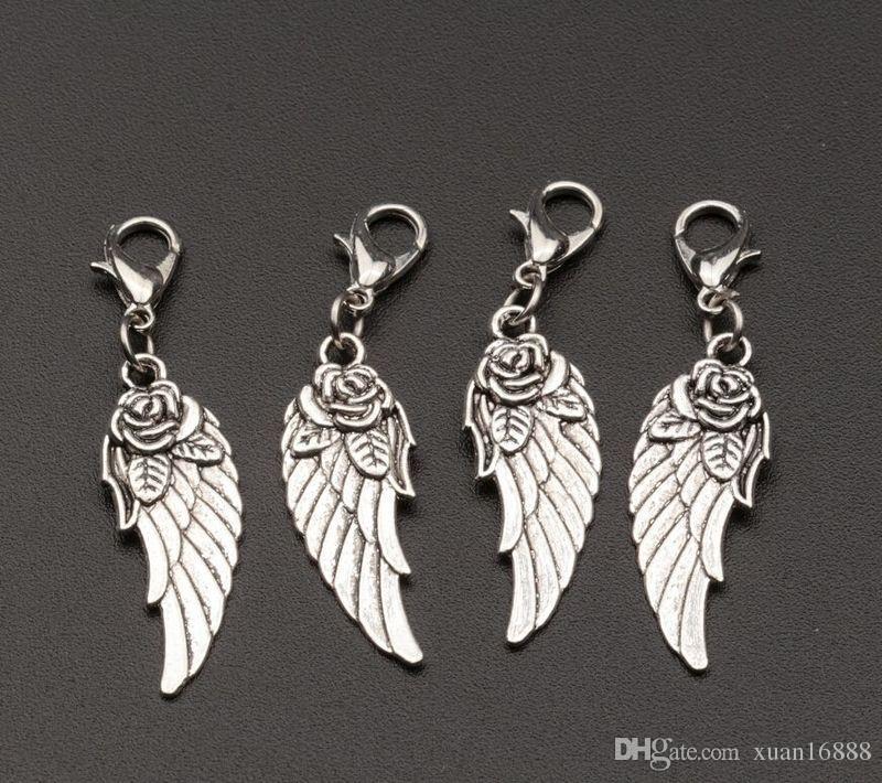 ¡Venta caliente! Las alas de aleación de zinc plata tibetana cuelgan cuentas con cierre de langosta Pulsera Fit Fit 44 x 11 mm 390