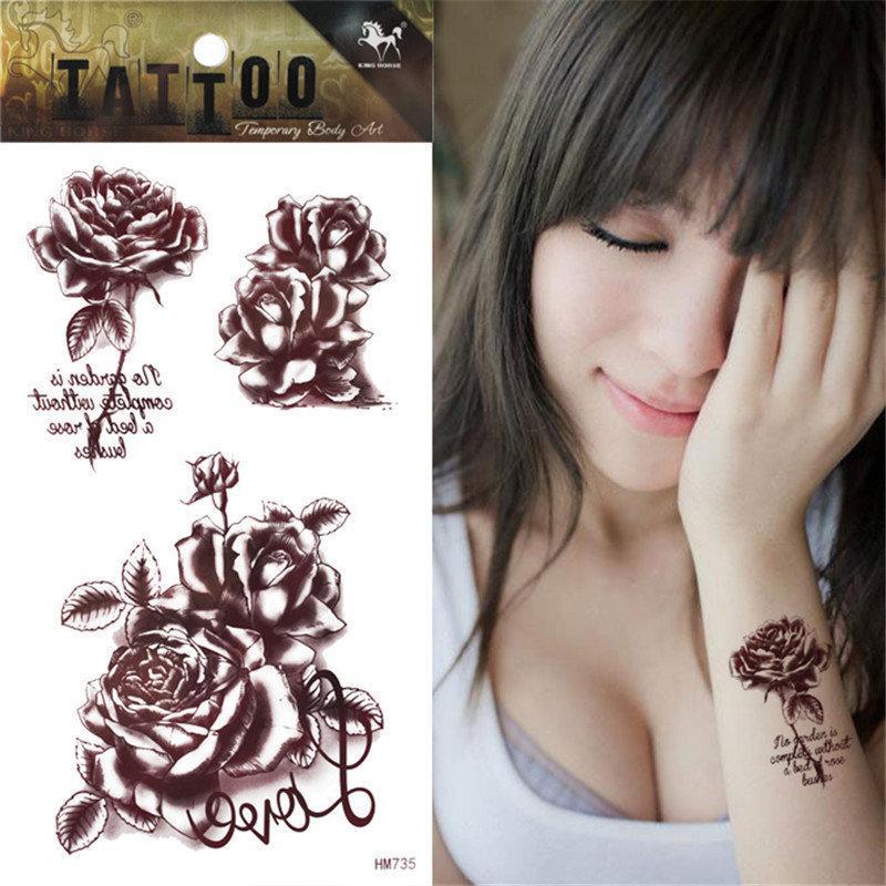 Tatuajes Henna El Salvador temporary brown tattoo henna 3d love rose tattoo body art sticker