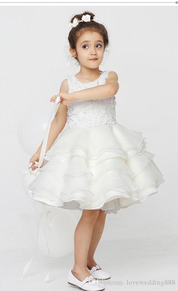 Frete grátis nova alta qualidade Handmade flores Crianças vestido de princesa vestido de meninas brancas Flower Girls 'Dresses princesa vestido bonito
