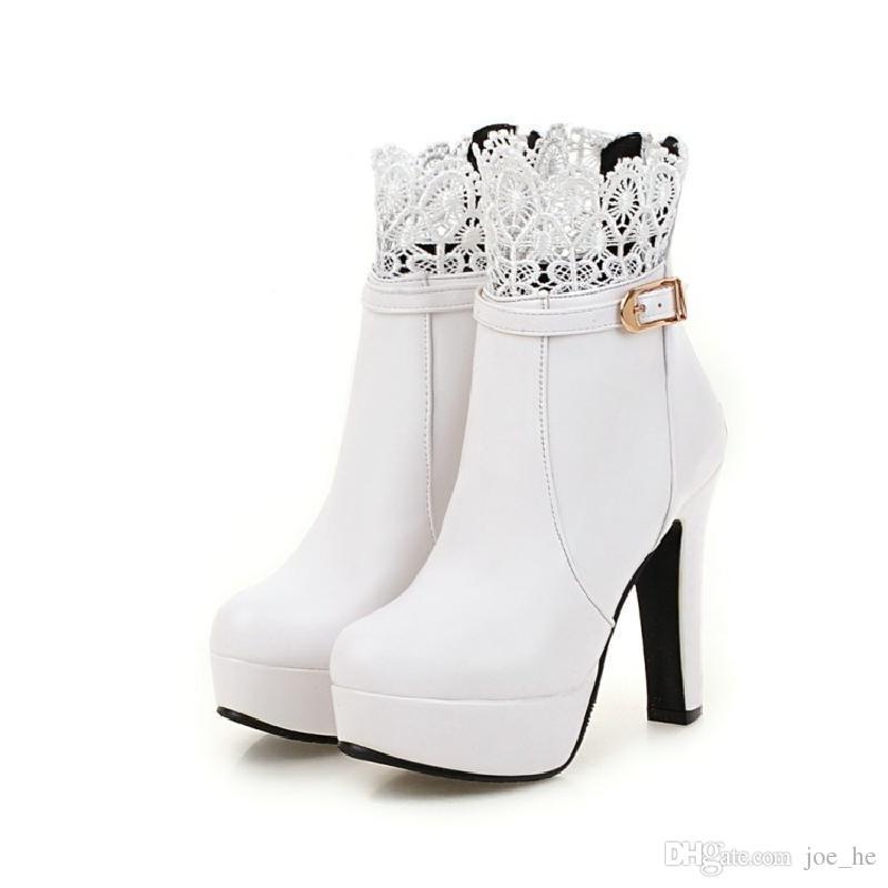 3061ca1e1b2 Compre Botas De Mujer Botines De Tacón Alto Zapatos De Plataforma Para Mujer  Moda Hebilla De Encaje Botas De Tacón Fino Mujeres Primavera Otoño Botines  ...