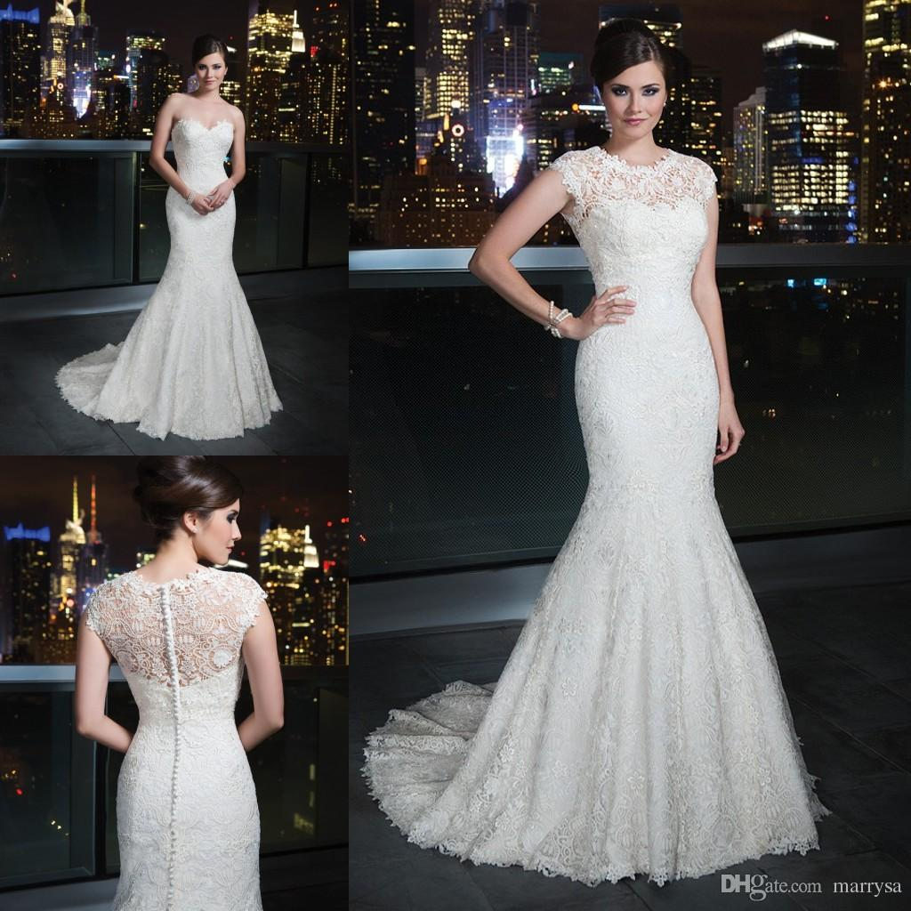 2016 Lace Vintage Backless Mermaid Wedding Gowns