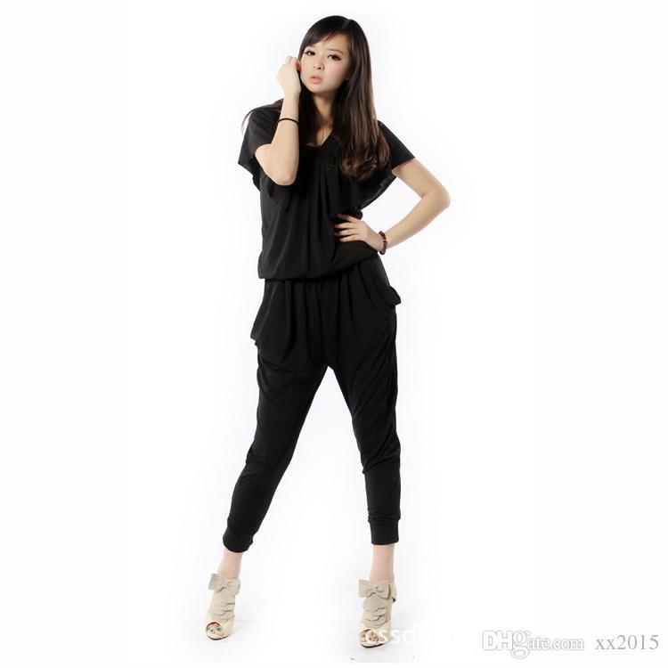 e3d0e62f4ab 2019 Wholesale Modal Jumpsuits Rompers For Women Summer Harem Pants Black  Loose Plus Size 6XL Black Short Sleeve Jumpsuit From Xx2015