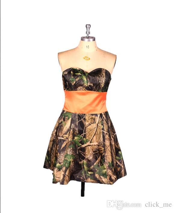 Imagem Real Camo Vestidos de Dama de Honra Barato Querida Strapless Vestidos Curtos Dama de Honra Barato A Linha Formal Vestidos de Festa Vestido de Noite Modesto