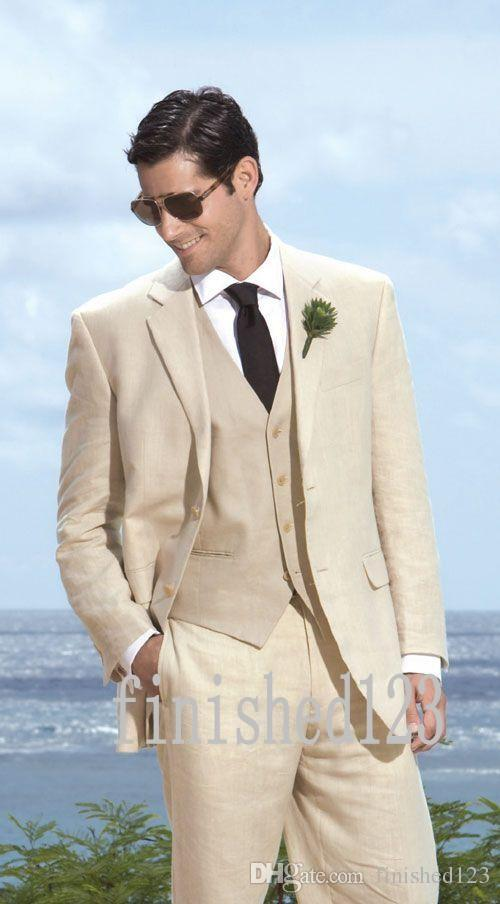 New Arrivals Two Buttons Beige Groom Tuxedos Notch Lapel Groomsmen Best Man Wedding Prom Dinner Suits Jacket+Pants+Vest+Tie G5016