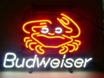New budweiser crab coors light bar sign real glass neon sign light see larger image aloadofball Images