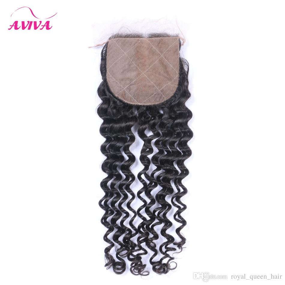 Silk Base Closure Peruvian Indian Malaysian Brazilian Top Lace Hair Closure Unprocessed Remy kinky curly Virgin Hair Extensions