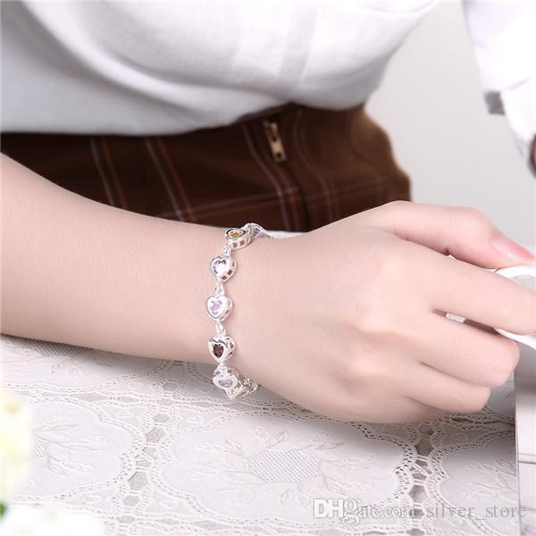 Горячая новогодняя распродажа 925 серебряные камни сердце браслет DFMCH368, совершенно новый покрытием стерлингового серебра звено цепи браслеты из драгоценных камней высокого класса