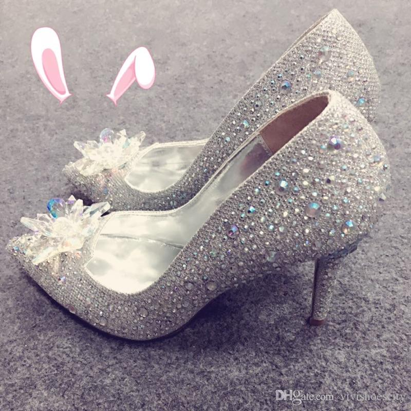 Top Grade Cinderella Crystal Shoes Bridal Rhinestone Wedding Shoes With Flower Genuine Leather Big Small Size 33 34 To 40