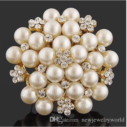 Vintage Silver Tone Faux Pearl Crystal Broche Pin Broche de Boda Traje B028 Vintage Imitación Perla Flor nupcial Bouquet Pin