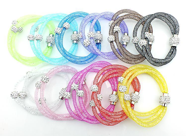 Mix Sales Fashion Link Bracciali Crystal Mesh Magnetic Clasp Multilayer Chain Strass Beads Bracciali Braccialetti Gioielli