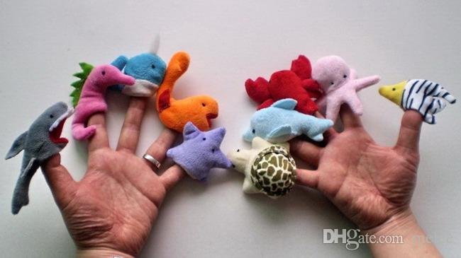 10 قطعة / الوحدة لينة المحيط الحيوان دمية طفل فنجر القطيفة الأخطبوط الدلفين القرش مختلف الكرتون الحيوان فنجر الدمى الطفل ألعاب تعليمية