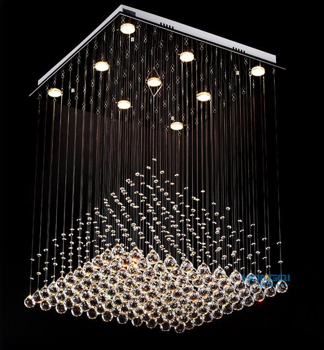 Modern Clear Square Crystal Chandelier Pyramid Rain Drop Lamp Flush ...