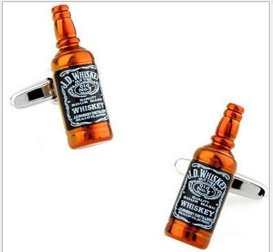 Mancuernas de botella de whisky de alta calidad para hombre gemelos de cobre boda Gemelos joyería de moda Mejor regalo de Navidad