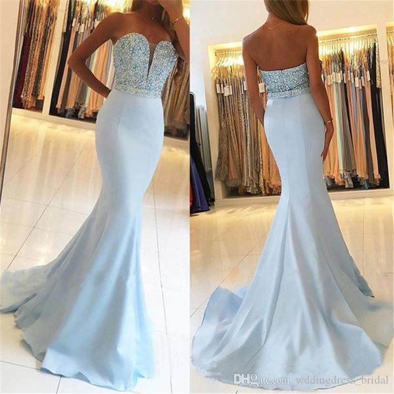 Light Blue Mermaid Evening Dresses 2019 New Sweetheart Heavy Beaded Elegant Formal Prom Party Gowns Long Backless Pageant Dresses Custom