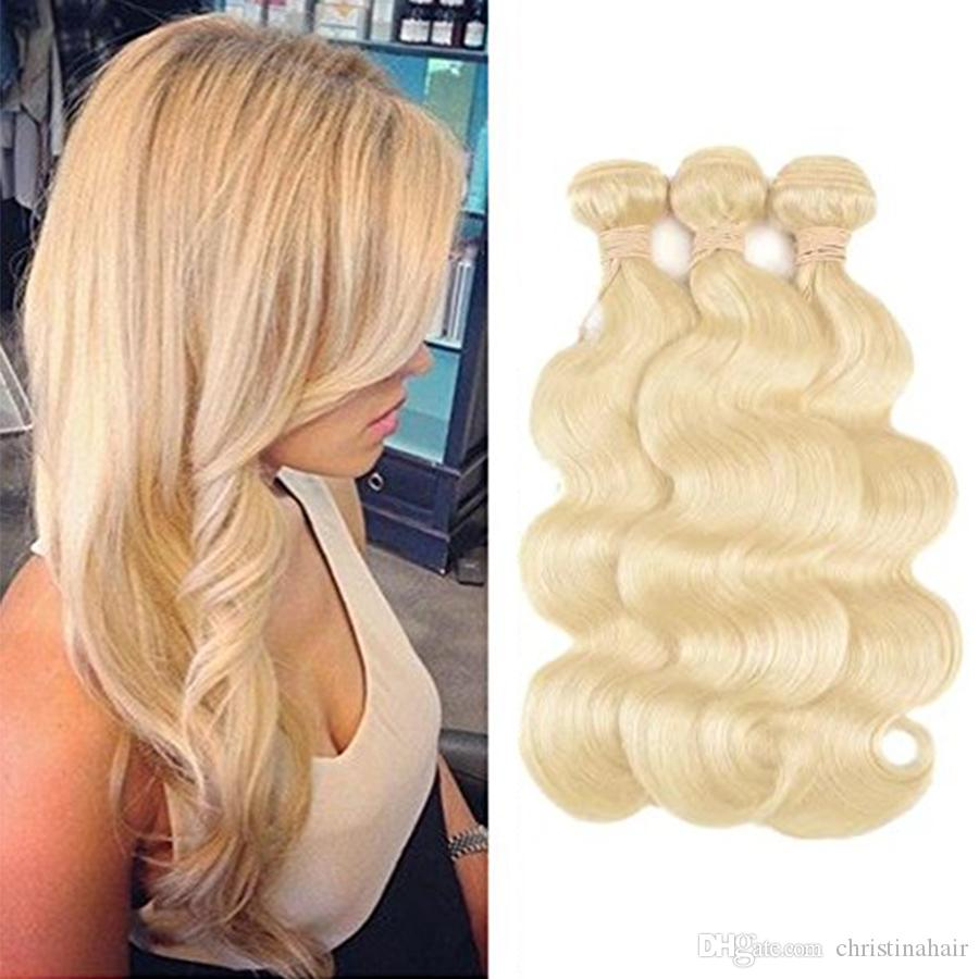 8A Brazilian Virgin Body Wave Hair Weaves Double Wefts 100g/pc 613 Russian Blonde Color Can be Dyed Human Remy Hair Extensions