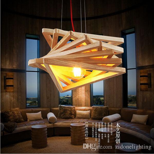 Novelty Modern Handmade Wood Pendant Lights For Bar