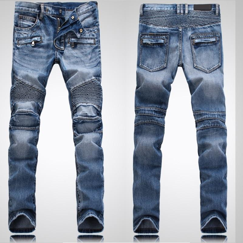 2018 Brand Men Biker Jeans Nwt Bp Jeans Men Distressed Blue Biker Denim Slim Washed Black Ripped ...
