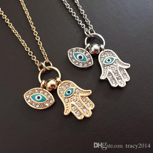2015 hot necklace pendants the hand of Fatima Turkey's blue eyes necklace min gold silver color