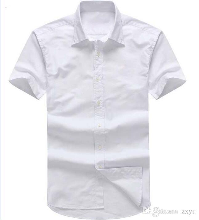 5c085c0b37544 Designer de verão dos homens de manga Curta camisas de Vestido 2018 homens  casuais POLO pequeno cavalo camisas moda EUA Marca RL Oxford social camisa  Sólida