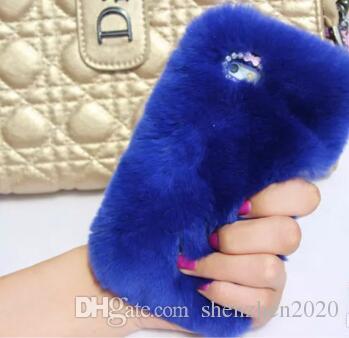 Real rex Coniglio morbido Pelliccia Telefono copertura del diamante Custodia Iphone X 8 7 6 6S Plus 5C Samsung Galaxy Note 5 4 S7 S6 Bordo S5 S4 s8