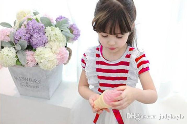 2018 جديد وصول فتاة اللباس الصيف قصيرة الأكمام الأطفال الملابس الكورية شريط طبقة الشاش الدانتيل الطفل الاطفال توتو فساتين 1 قطع التجزئة TR46