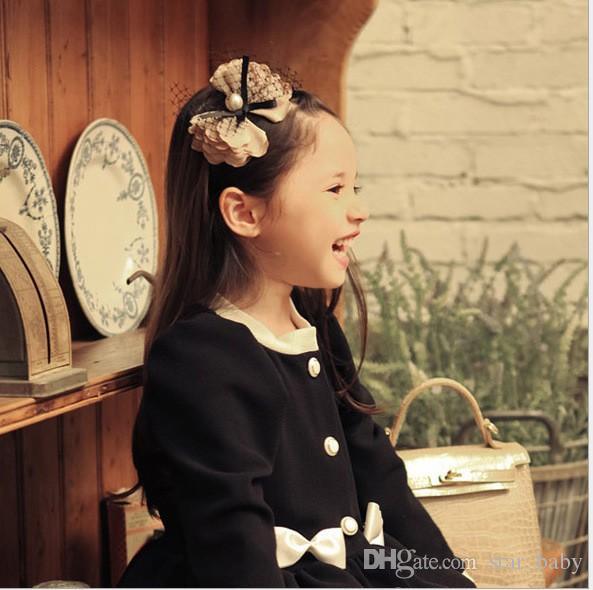 2015 filles perle bowknot tulle école coréenne étudiant fille fermoir à cheveux enfants bandeau enfant danse accessoires de cheveux japonais k4925