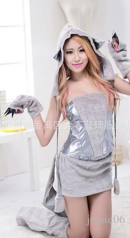 Newest Sexy Furry Fasching Wolf Cat Girl Halloween Costume Cosplay Fancy Party Dresses Full Set Xmas party clothing gift
