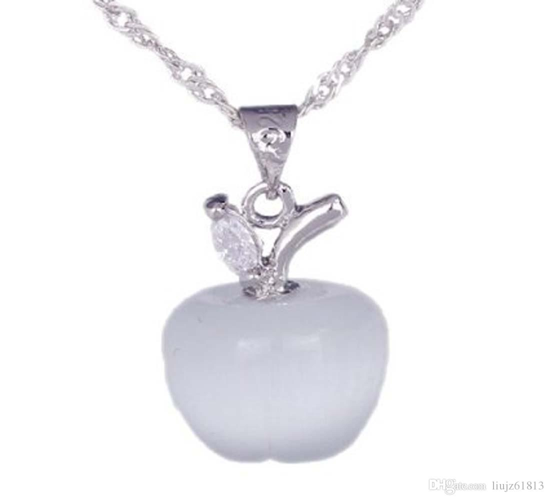 Hot Selling! 925 Sterling Silver Opal Cat's Eye Pink White Apple Necklace Pendant Christmas Wedding Party Birthday Gift DG201