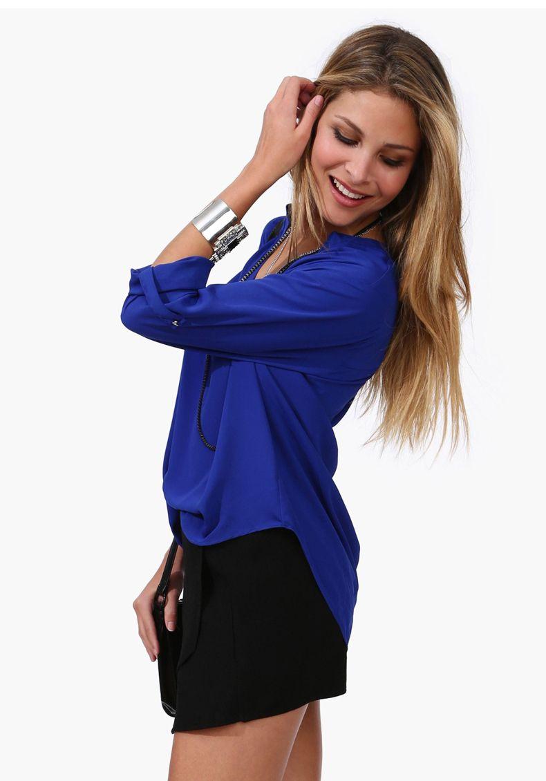 Camisas das mulheres senhora meninas casual sexy Com Decote Em V blusa de manga longa M-XXL fahsion casual up tops camisas 7341