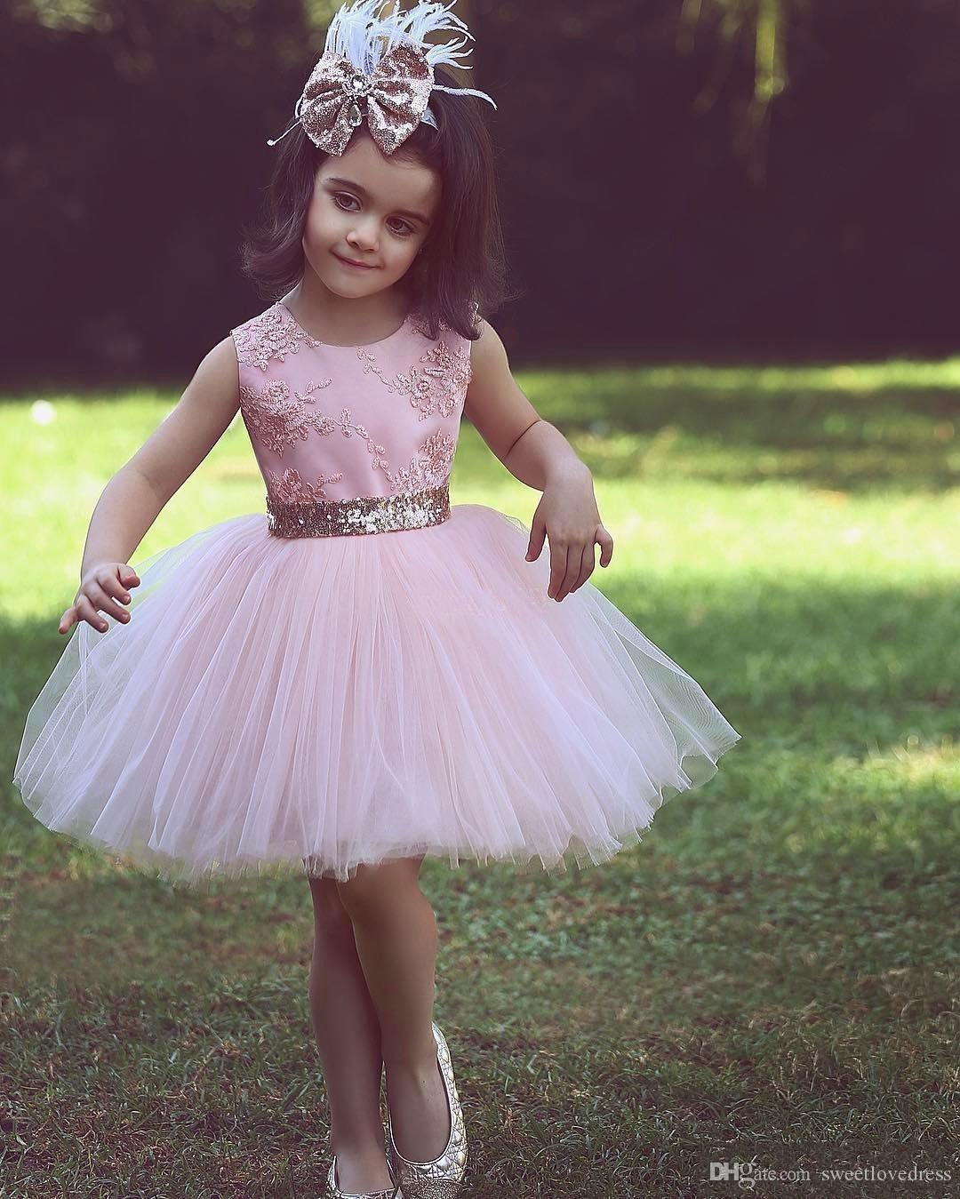 cute Pink Flower Girl Dresses For Country Wedding With Bow Kids Child Sequined Tutu Ball Gown Party Pageant Birthday Formal Dresses