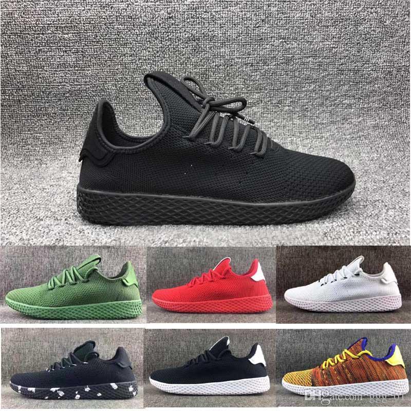 buy online 8d3c2 07b01 2017 Pharrell Williams Stan Smith Classic all black trainer sport shoes for  Men Women s Lover s Running sneaker szie 36-45