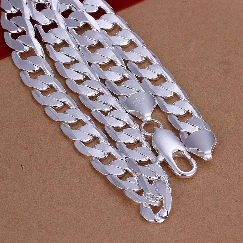 Высокое качество 925 посеребренные ожерелье Фигаро цепи 12мм X20inches бесплатная классическая мужская мода ювелирные изделия доставка