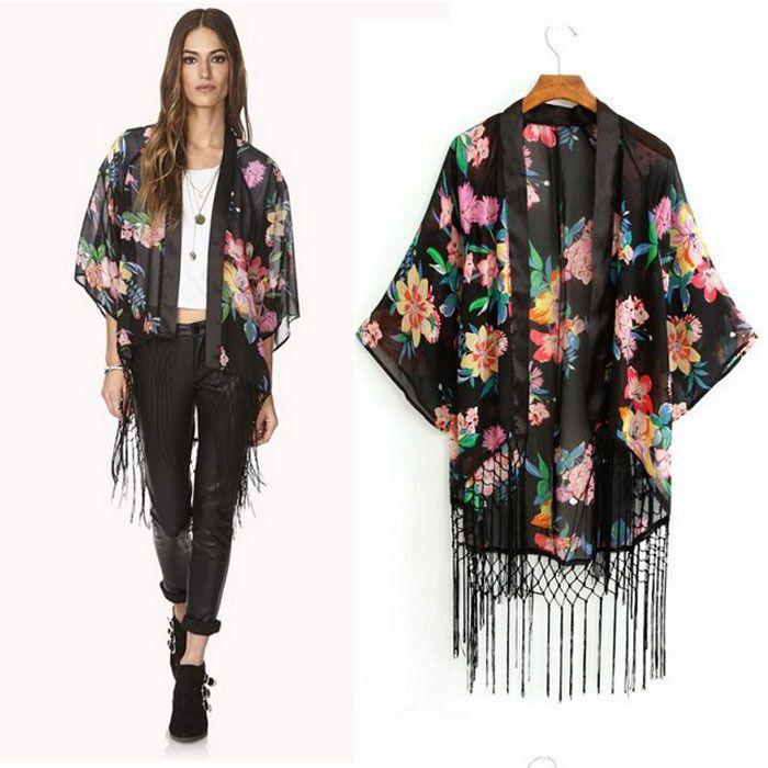 2015 Fashion Women Blouses Kimono Cardigan Chiffon Coat Jacket ...