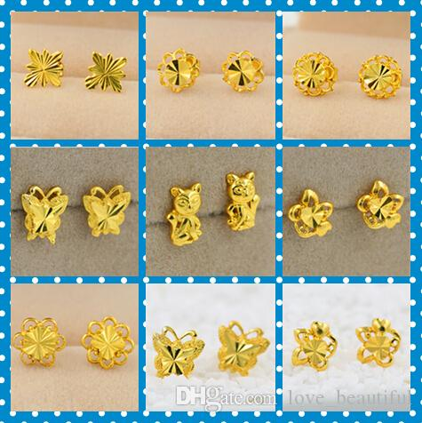 Wholesale promotion price women stud nail earrings butterfly flowers wholesale promotion price women stud nail earrings butterfly flowers animal mix style plating 24k yellow gold filled gf wives big ladys earring by mightylinksfo
