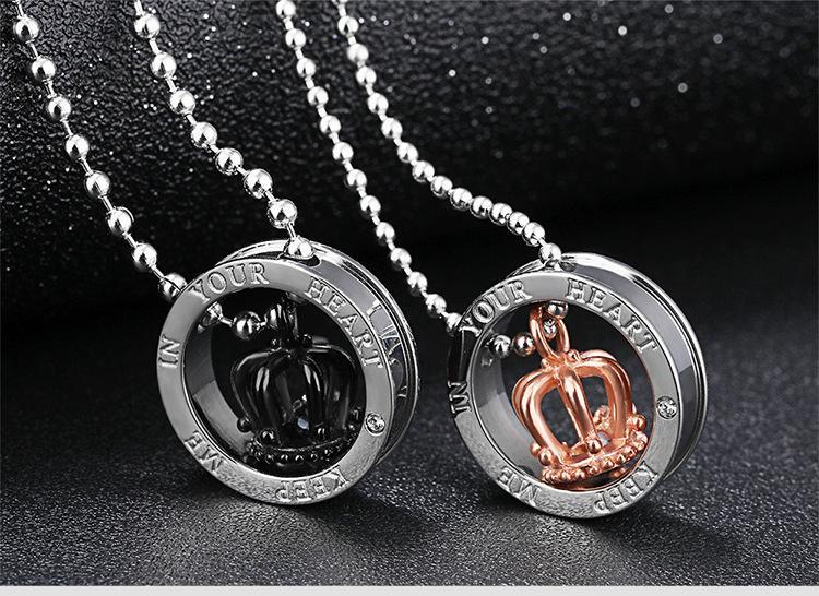 Cadeau de Noël * amoureux collier en acier inoxydable 316L avec pendentif chaîne mode bijoux bijou couple colliers couronne pendentifs girlfrend présente