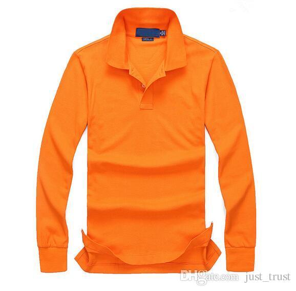 долго 2018. Известный гольф деловых людей рубашки поло хлопка втулки Pony вышивка рубашки Поло сшитое Классический подходят Популярные мужские рубашки поло