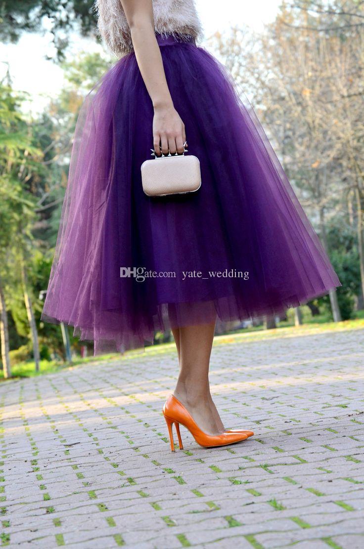 Moda Regency Fioletowy Tulle Spódnice Dla Kobiet Midi Długość Wysoka talia Puffy Formal Party Spirts Tutu Dorosłych Spódnice