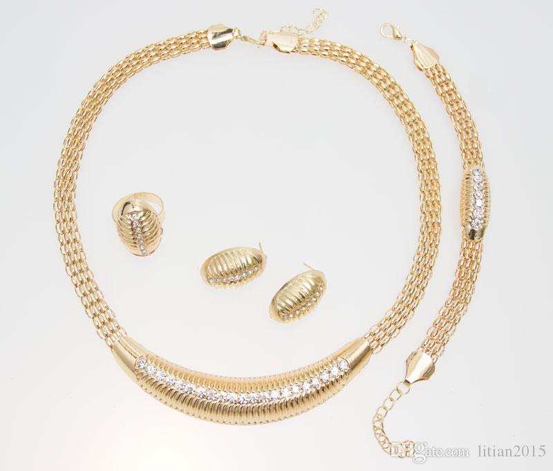 Frete Grátis 24 K Gold Filled Popular Colar Brincos Pulseira Anel de Moda Africano Mulheres Grandes Conjuntos de Jóias