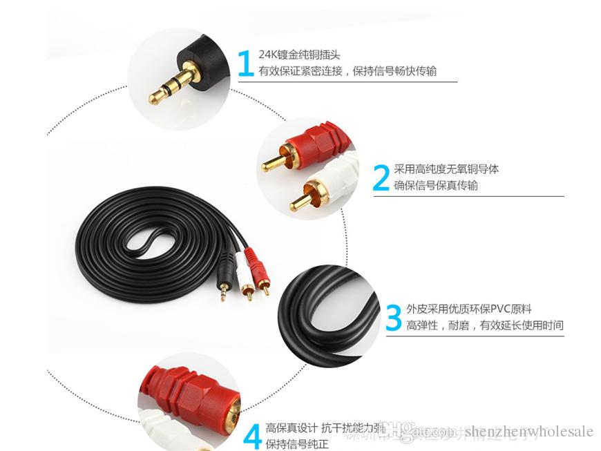 5Ft 1.5m Stereo Audio 3.5mm Male Jack to AV 2RCA Audio Cable 3.5mm to 2 RCA