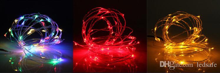 50 adet Noel 10 m 100 LEDs Su Geçirmez LED Bakır Dizeleri Işıkları Açık Ampul Kırmızı Sarı Mavi Yeşil Beyaz Renkli + 1A Adaptörü ABD İNGILTERE AB AU