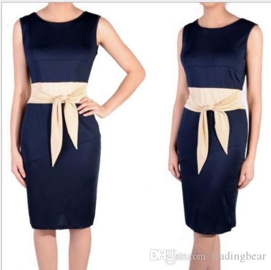 Plus size formal dresses Navy Dress With Champagne Belt Sleeveless Women Work Dress Knee Length Ladies Dresses Size S to XXL