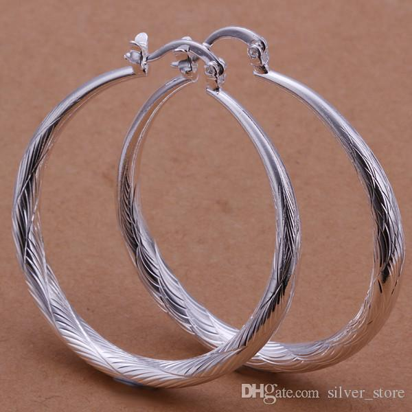 브랜드의 새로운 스털링 실버 플레이트 큰 물고기 패턴 라운드 귀걸이 SE292, 여성 925 실버 매달려 샹들리에 귀걸이 10쌍 많은 공장