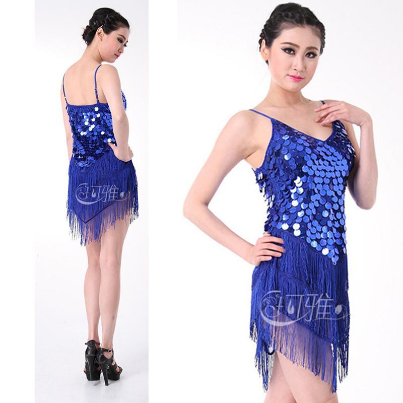 2a904c11526 Compre Lentejuelas Vestido De Baile Latino Borla Vestido Para Mujeres Niñas Vestido  Latino Falda De La Honda Tango Vestido Blanco / Azul / Oro Colores Envío ...